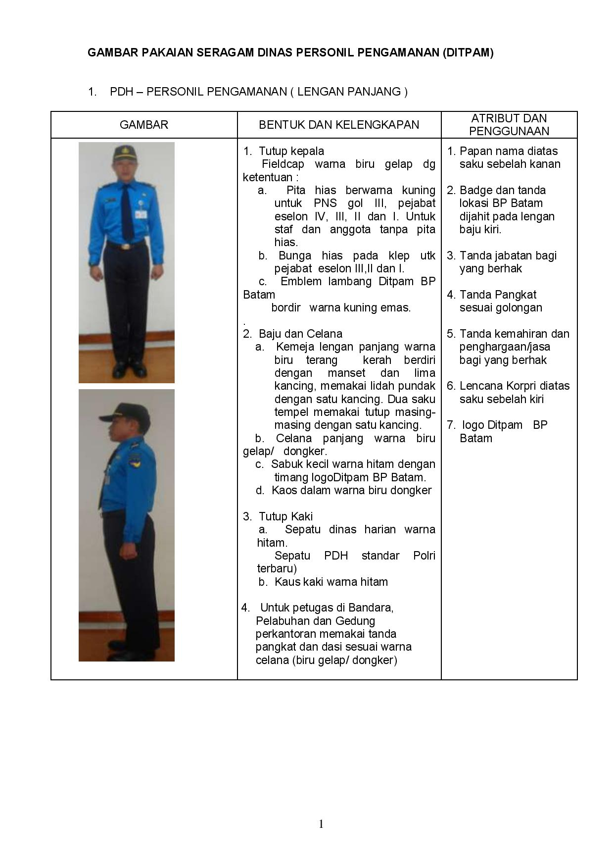 Seragam Pengamanan Stelan Pakaian Dinas Harian Pdh Lengan Panjang